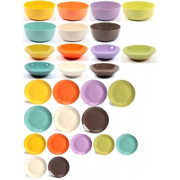 Servizio piatti 19 pezzi gres porcellanato colorati